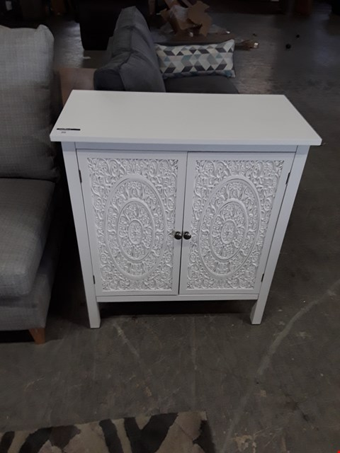 Lot 20 DESIGNER WHITE FINISH ORNATE 2 DOOR CABINET