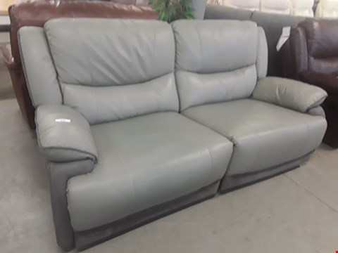 Lot 655 QUALITY MADE TORINO GREY MANUALLY RECLINING THREE SEATER DOFA WITH CONTRAST STITCHING RRP £1699.99