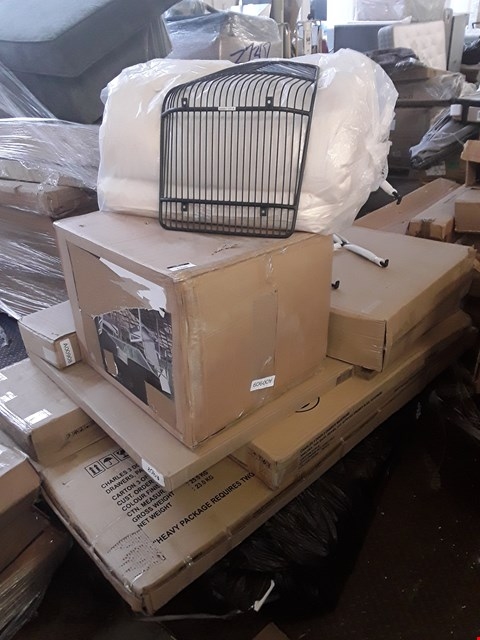 Lot 352 PALLET OF ASSORTED FLAT PACK FURNITURE/PARTS