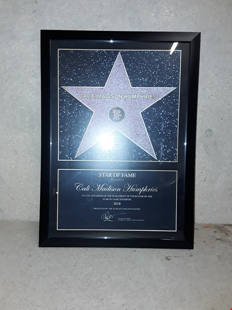 Lot 2283 LOT OF 2 TO INCLUDE MERCURY GLASS LIT TREE ROOM REC, PERSONALISED STAR FRAME PICTURE RRP £65