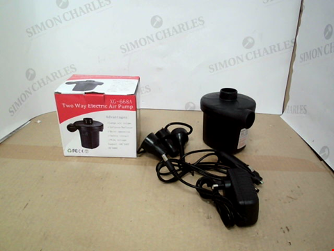 Lot 10536 BOXED DESIGNER XG-668A TWO WAY ELECTRIC AIR PUMP