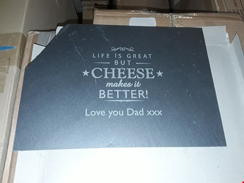Lot 6216 LOT OF 2 BOXED GRADE 1 SPIDERMAN EVERGREEN COMPLETE ART, PERSONALISED CHEESE MAKES LIFE SLATE WALL SIGN RRP £50