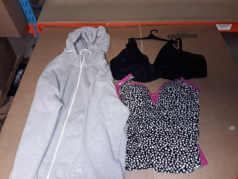 Lot 9413 4 BOXES OF APPROXIMATELY 164 ASSORTED CLOTHING ITEMS INCLUDING BLACK SIENNA BRA, MONO SPOT TANK TOP AND GREY HOODIE