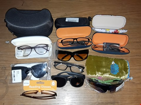 Lot 8108 CRATE OF ASSORTED GLASSES AND CASES TO INCLUDE SPORTS, DESIGNER AND READING STYLES