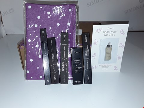 Lot 591 JULEP MAKE UP SET WITH POUCH TO CONTAIN BLUSH STICK ROSE GOLD, LIP GLOSS VIBES, 5 IN 1 SKIN PERFECTOR BEIGE, EYESHADOW STICK COPPER, EYE LINER RICH BROWN