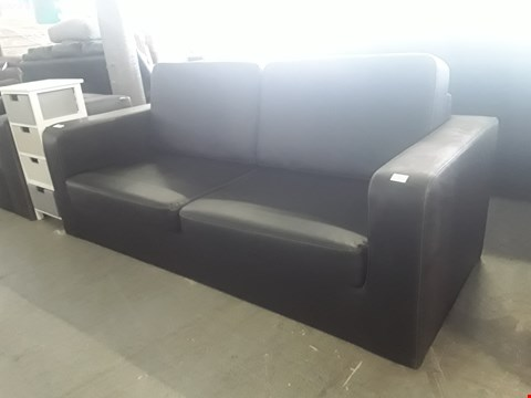 Lot 13 DESIGNER BLACK LEATHER 3 SEATER SOFA WITH CONTRAST STITCHING