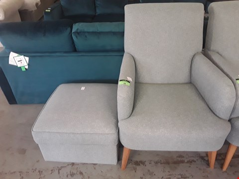 Lot 68 QUALITY BRITISH DESIGNER DUCK EGG BLUE OCCASIONAL CHAIR AND FOOTSTOOL