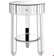 Lot 101 BOXED PHOEBE ROUND 1 DRAWER MIRRORED TABLE (1 BOX) RRP £149.00