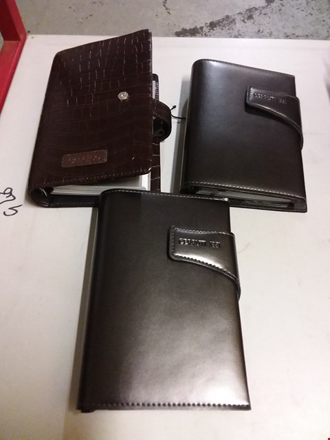 Lot 12842 LOT OF 3 ASSORTED BRAND NEW LEATHER A5 FILOFAX STYLE ORGANISERS