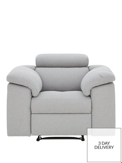 Lot 440 BRAND NEW DESIGNER BRADY GREY FABRIC MANUAL RECLINING ARMCHAIR  RRP £699
