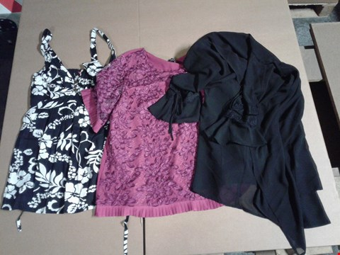Lot 9308 BOX OF APPROXIMATELY 42 CLOTHING ITEMS TO INCLUDE LACE KIMONO - BLACK, LD LACE TOP - BERRY, JB PRINT CAMISOLE - BLACK/WHITE