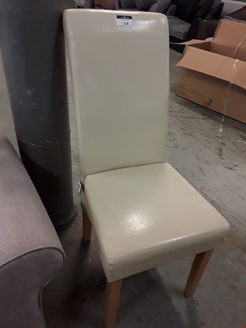 Lot 118 DESIGNER CREAM FAUX LEATHER UPHOLSTERED SINGLE DINING CHAIR