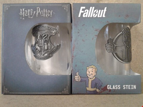 Lot 468 4 BRAND NEW BOXED CUPS ×2 HARRY POTTER GLASS STEIN ×2 FALLOUT 4 GLASS STEIN