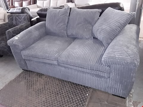 Lot 18 DESIGNER GREY JUMBO CHORD TWO SEATER SOFA