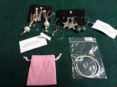 Lot 63 LOT OF THREE ASSORTED ITEMS TO INCLUDE 3PK SILVER EARRINGS AND SILVER TONE DIAMANTE EXTRA LARGE 65 MM HOOPS RRP £62