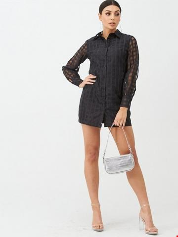 Lot 7282 BRAND NEW BOOHOO CHECK MESH BLACK SHIRT DRESS - SIZE 12 UK