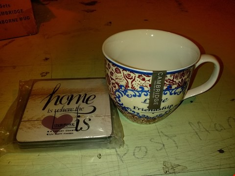 Lot 6048 LOT OF 6 HOME ITEMS TO INCLUDE 4X CAMBRIDGE OXFORD CRANBORNE MUG AND 6X SET OF 4 INSPIRE LOVE COASTERS
