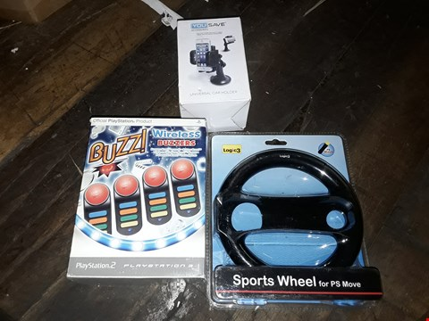 Lot 8144 BOX OF APPROXIMATELY 10 ASSORTED items to include BUZZ! WIRELESS BUZZERS FOR PS3, A LOGIC3 SPORTS WHEEL FOR PS MOVE, A YOU SAVE UNIVERSAL CAR HOLDER ETC