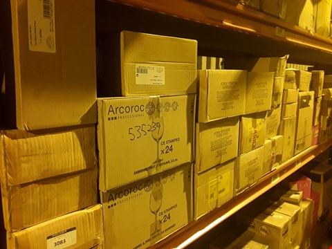 Lot 3083 SHELF OF APPROXIMATELY 34 BOXES OF ASSORTED CATERING & HOTEL WARE SUNDRIES