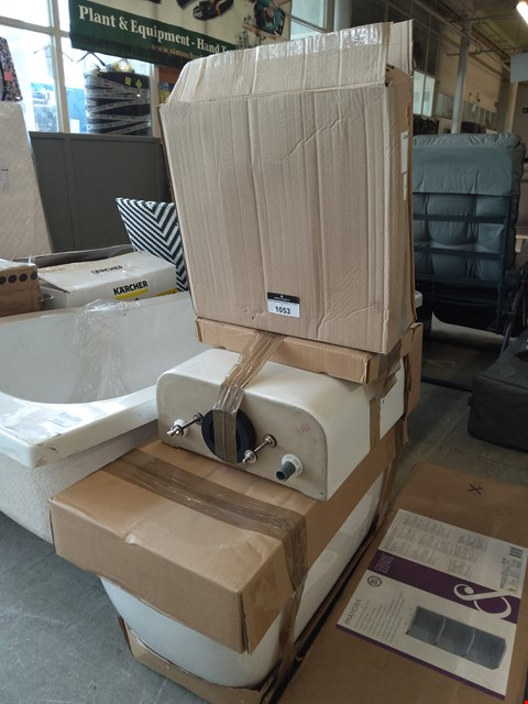 Lot 1053 THREE ITEMS: TOILET, CISTERN AND BOXED COMPACT CISTERN