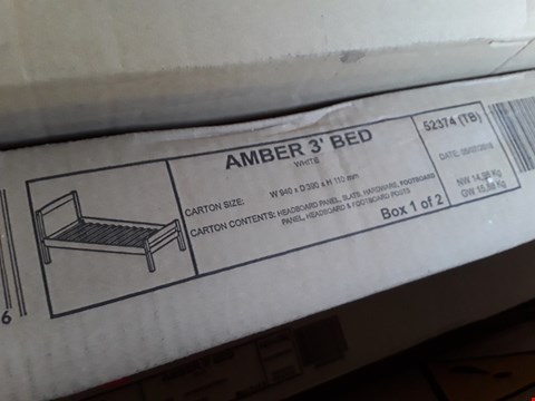 Lot 2152 BOXED AMBER 3FT SINGLE BED - WHITE (2 BOXES)