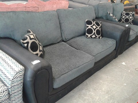 Lot 13 DESIGNER BLACK FAUX LEATHER AND CHARCOAL FABRIC 3 SEATER SOFA