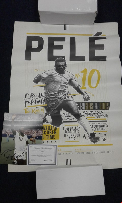 Lot 8222 PELE NO. 10 POSTER AND SIGNED PELE PHOTOGRAPH WITH CERTIFICATE OF AUTHENTICITY