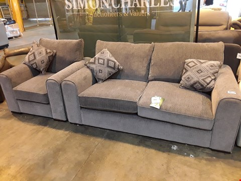Lot 9058 DRSIGNER GREY FABRIC LOUNGE SUITE, COMPRISING THREE SEATER SOFA & EASY CHAIR