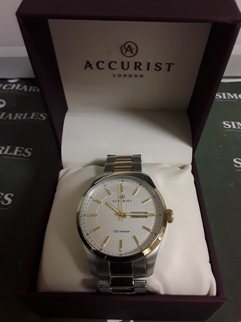 Lot 2368 ACCURIST WHITE DIAL TWO TONE STAINLESS STEEL BRACELET MENS WATCH RRP £125.00