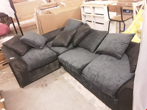 Lot 2051 DESIGNER BLACK FAUX LEATHER AND CHARCOAL FABRIC CORNER SOFA WITH SCATTER BACK CUSHIONS