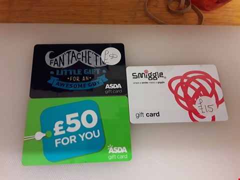 Lot 68 3 ASSORTED GIFT CARDS TO INCLUDE ASDA AND SMIGGLE TOTAL VALUE £115