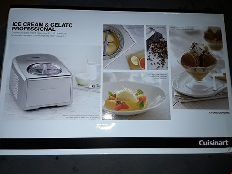 Lot 591 CUISINART ICE CREAM & GELATO PROFFESSIONAL FREEZE BOWL