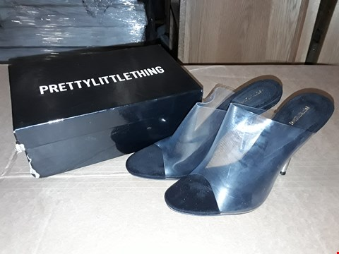 Lot 21 BOXED PRETTY LITTLE THING BLACK HIGH HEELS WOMENS SIZE 5UK