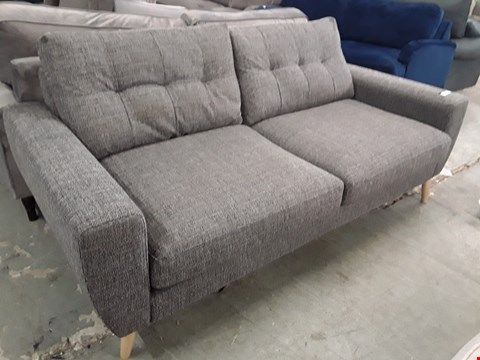 Lot 119 DESIGNER CHARCOSL FABRIC VINTAGE STYLE THREE SEATER SOFA