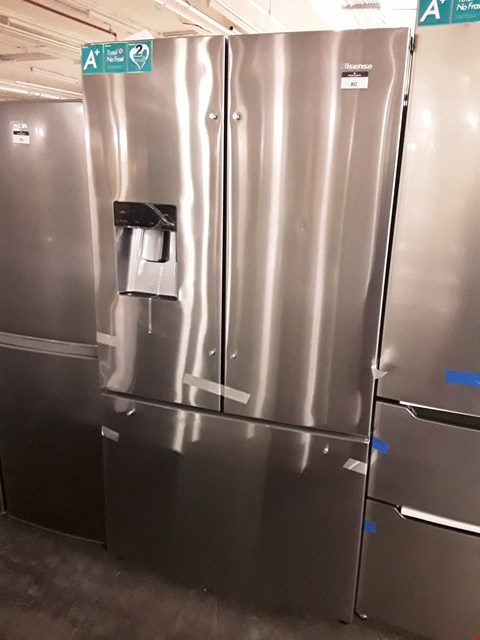 Lot 80 HISENSE SILVER AMERICAN STYLE FRENCH DOOR FRIDGE FREEZER WITH WATER DISPENSER  RRP £799