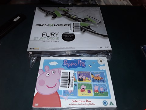 Lot 7177 BRAND NEW SKY VIPER FURY STUNT DRONE AND PEPPA PIG SELECTION BOX OF DVDS  RRP £115