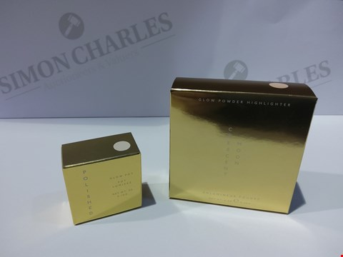 Lot 12189 BOX OF 46 ASSORTED BEAUTY ITEMS TO INCLUDE: CRESCENT MOONGLOW POWDER HIGHLIGHTER 0.2oz, POLISHED GLOW POT 0.1oz