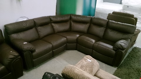 Lot 1204 DESIGNER BROWN LEATHER RECLINING CORNER SOFA