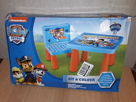 Lot 8327 PAW PATROL SIT AND COLOUR TABLE RRP £39.99