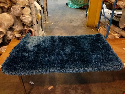 Lot 3052 DESIGNER THINK RUGS MONTANA PLAIN SHAGGY STEEL BLUE RUG 80X150CM