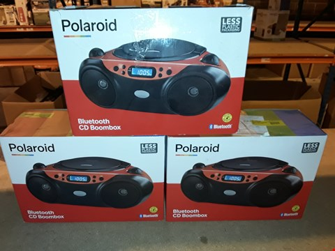 Lot 2099 LOT OF 3 BOXED POLAROID BLUETOOTH CD BOOMBOXES