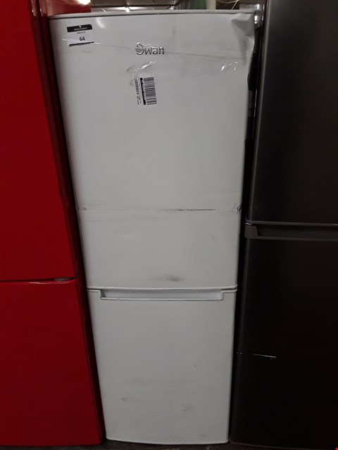 Lot 64 SWAN SR8180W 50/50 FRIDGE FREEZER IN WHITE