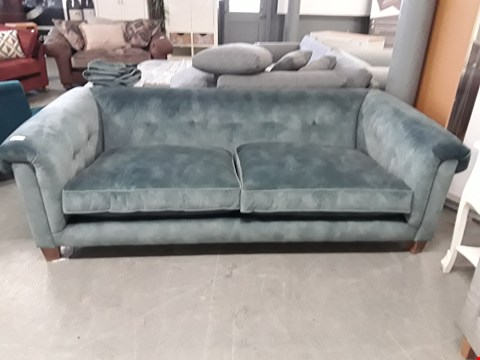 Lot 11 QUALITY BRITISH DESIGNER SAGE GREEN PLUSH VELVET 3 SEATER SOFA