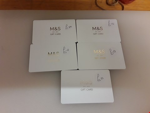 Lot 63 5 ASSORTED  M & S GIFT CARDS TOTAL VALUE £80