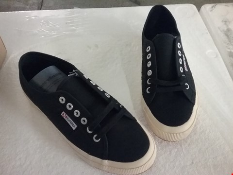 Lot 129 BOXED SUPERGA COTU CLASSIC TRAINERS - BLACK, SIZE 7 UK