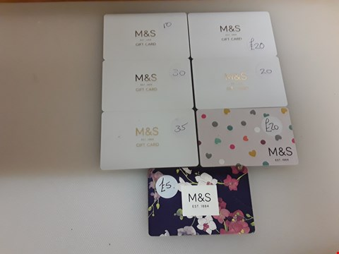 Lot 31 7 ASSORTED M&S GIFT CARDS TOTAL VALUE £140