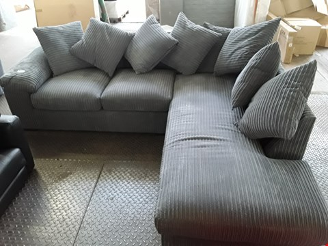Lot 94 DESIGNER GREY JUMBO CHORD CHAISE SOFA WITH SCATTER CUSHIONS