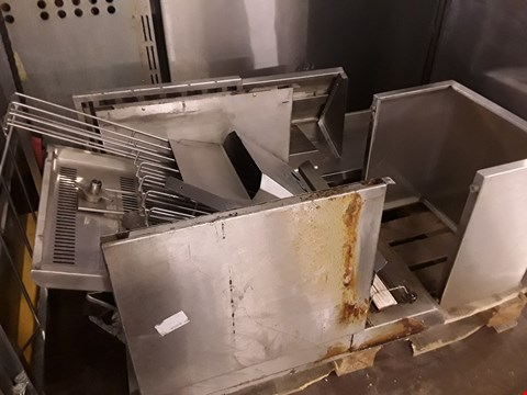 Lot 13526 PALLET OF ASSORTED COMMERCIAL STAINLESS STEEL PARTS INCLUDING HEATED GANTRY AND SHELVING