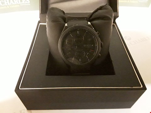 Lot 87 BOSS VELOCITY BLACK TEXTURED CHRONOGRAPH DIAL BLACK SILICONE STRAP MENS WATCH RRP £279.00