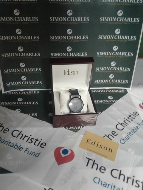 Lot 3 BRAND NEW BOXED EDISON BLACK STRAP AND FACE WRIST WATCH